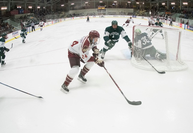 Carter Cowlthorp action vs. Babson men's hockey