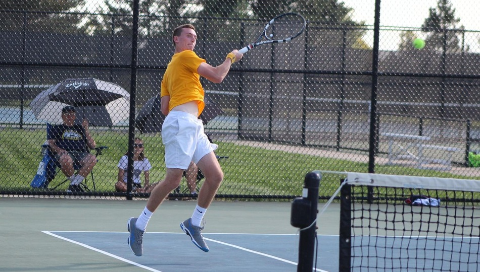 Tanner Wilcox picked up at win at one doubles and cruised to a 6-1, 6-1 win at two singles in Adrian's 7-2 win over Albion (Photo by Joseph Templin).