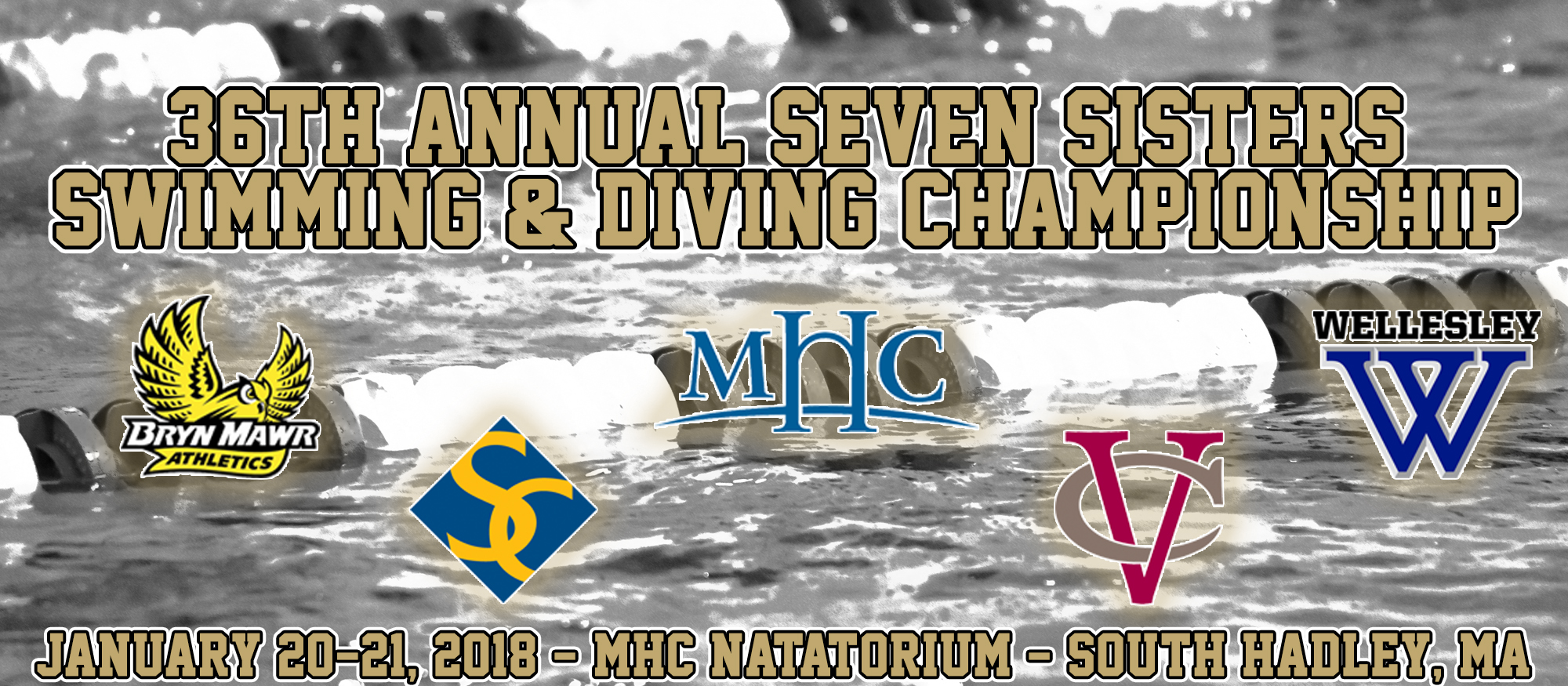 Image featuring the five participating schools in the 2018 Seven Sisters Championship, including Bryn Mawr, Smith, Mount Holyoke, Vassar and Wellesley. Set to run Jan. 20-21, 2018 at MHC.