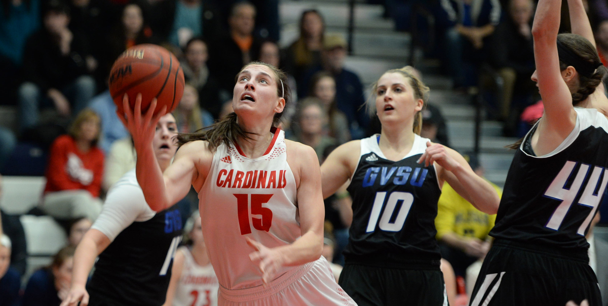 Katelyn Carriere had a team-high 16 points with six boards, two steals, a block and assist in the victory over GVSU...