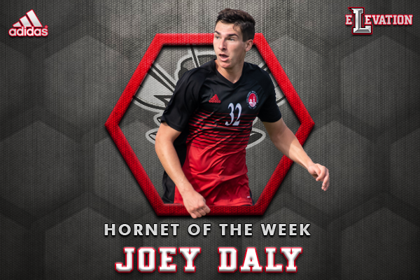 Joey Daly playing soccer. Text: Joey Daly, Hornet of the week
