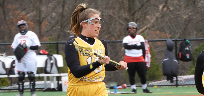 Senior attack Caitlin Wheeler had a team-high five goals against Heidelberg (Photo courtesy of Lori Moran)