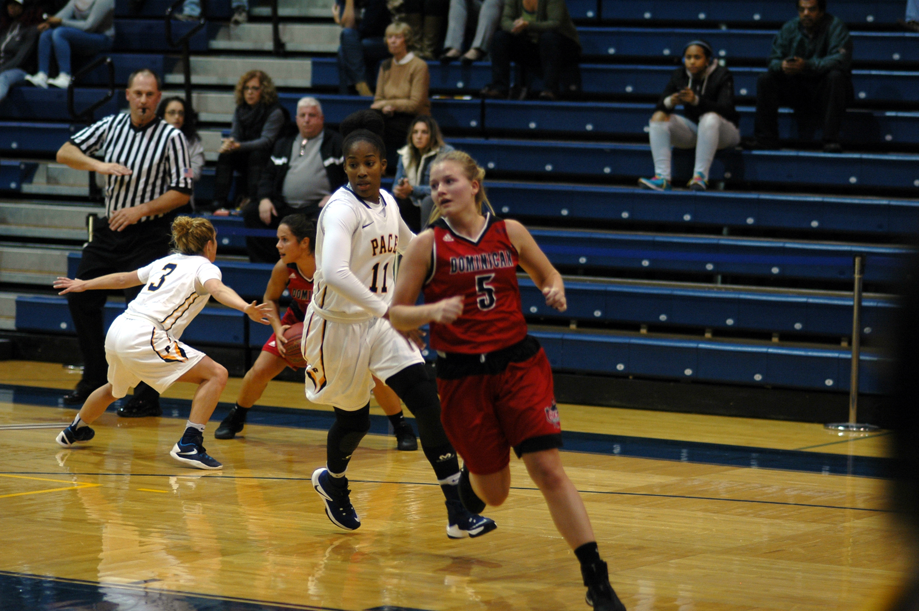 Senior guard Jacqueline Rywalt who grabbed four rebounds and two assists in the loss to SCSU.