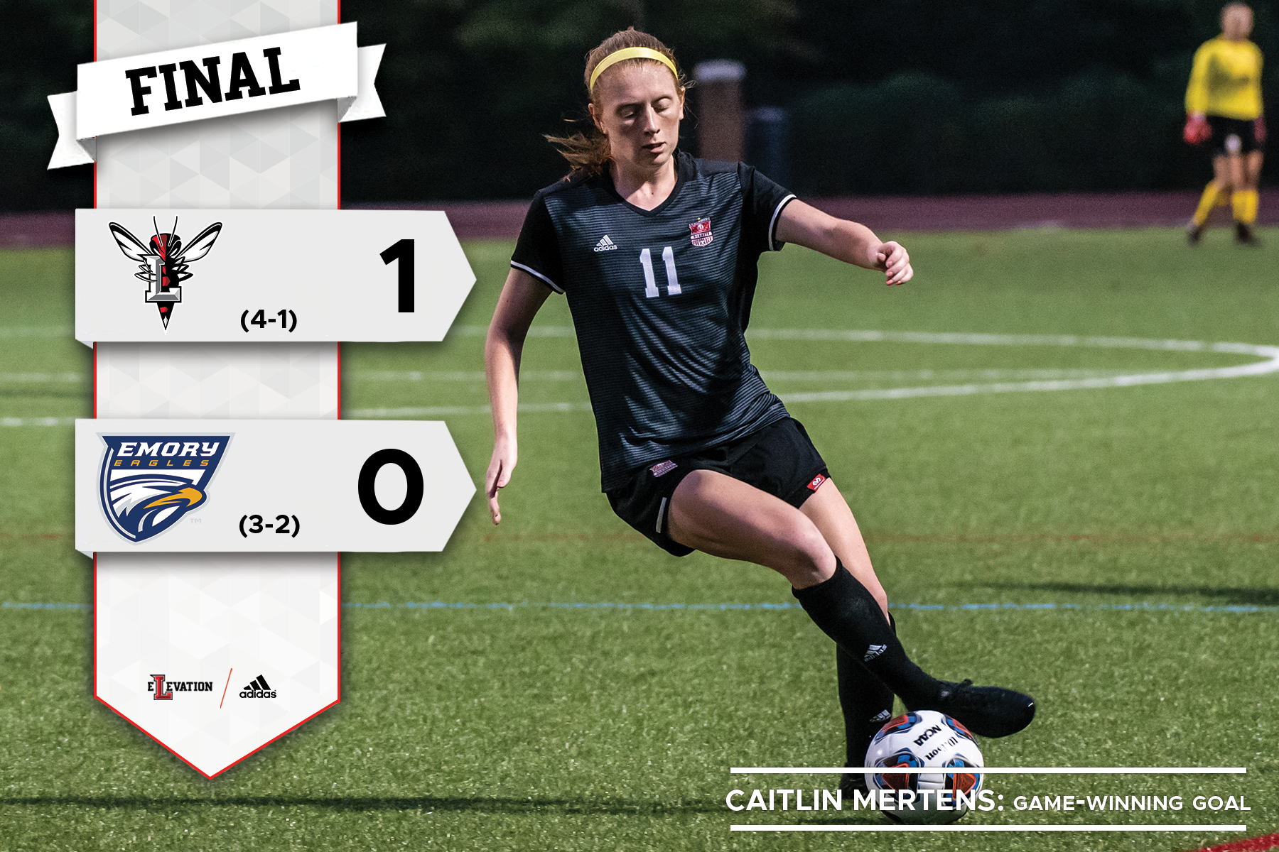 Graphic showing 1-0 final score Lynchburg over Emory U. Caitlin Mertens driblles the ball in the photo.