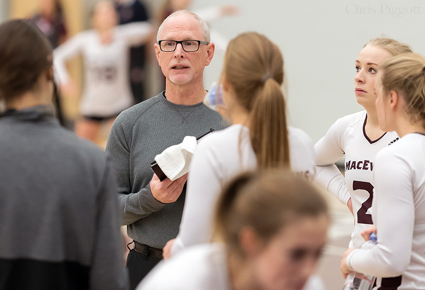 MacEwan women's volleyball head coach Ken Briggs and his troops will head to Vancouver for matches against UBC on Friday and Saturday (Chris Piggott photo).