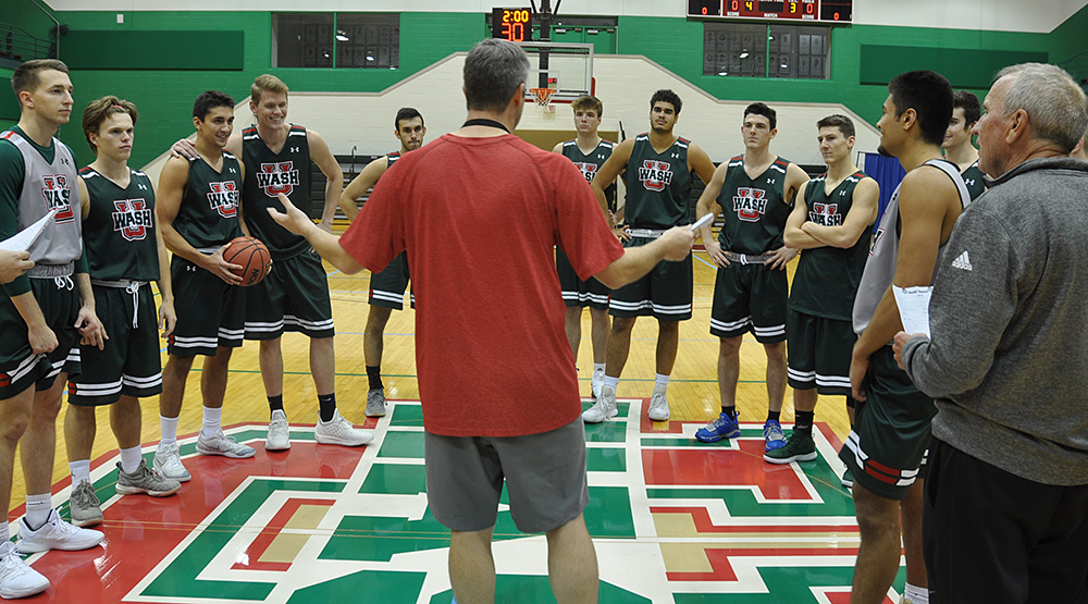 Pat Juckem leads his WashU men's basketball team in practice. (Washington U. athletics photo by Chris Mitchell)