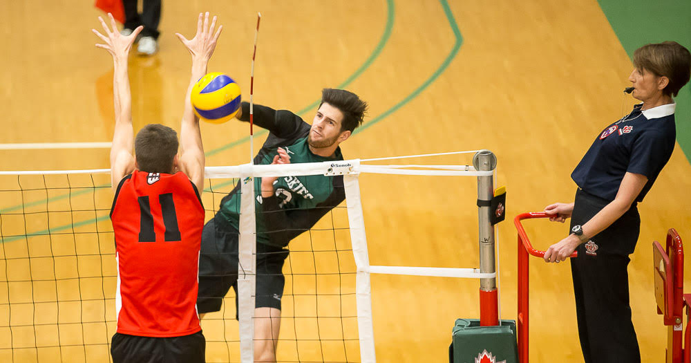 Men's volleyball closes season with win over UBC