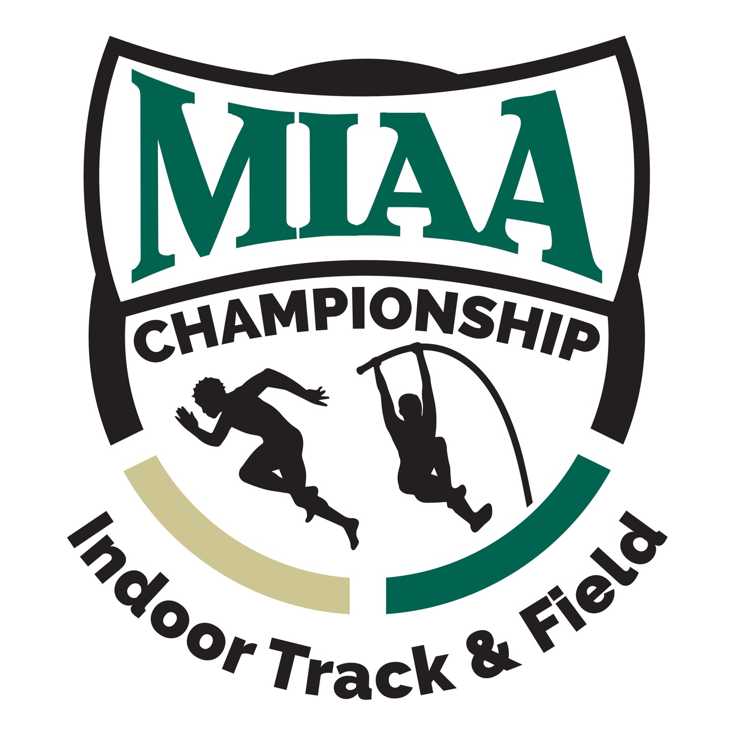 MIAA track and field green, black and gold championship logo