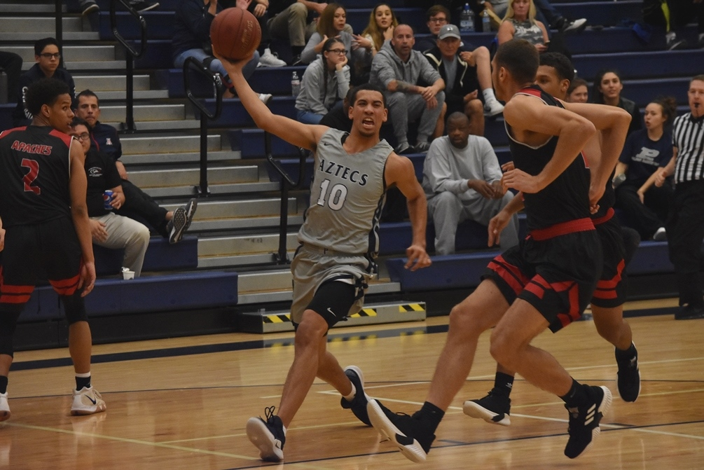 Freshman Rashad Smith (Hamilton HS) fell just short of a triple-double as he posted 22 points, 12 rebounds and seven assists in men's basketball's 113-69 win at Tohono O'odham Community College. The No. 17 ranked Aztecs improved to 7-3 overall and 4-2 in ACCAC conference play. Photo by Ben Carbajal