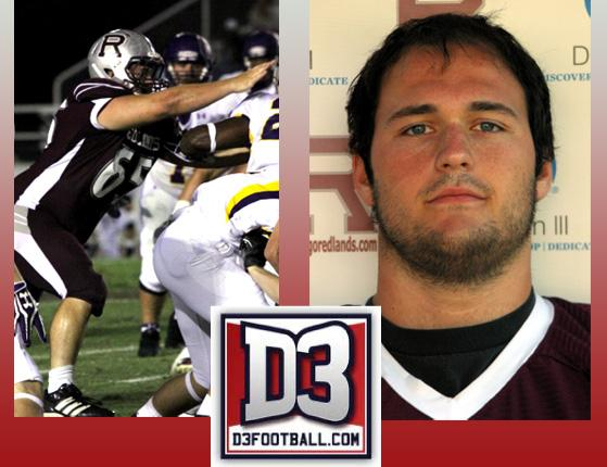 Senior defensive tackle Daniel Kane represented Redlands on the D3football.com All-West Region Third Team.