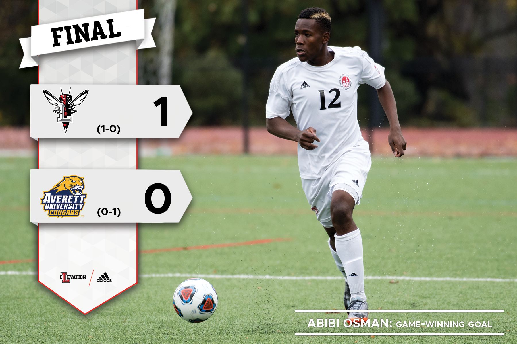 Abibi Osman dribbles the soccer ball. Graphic with 1-0 final score from men's soccer game.