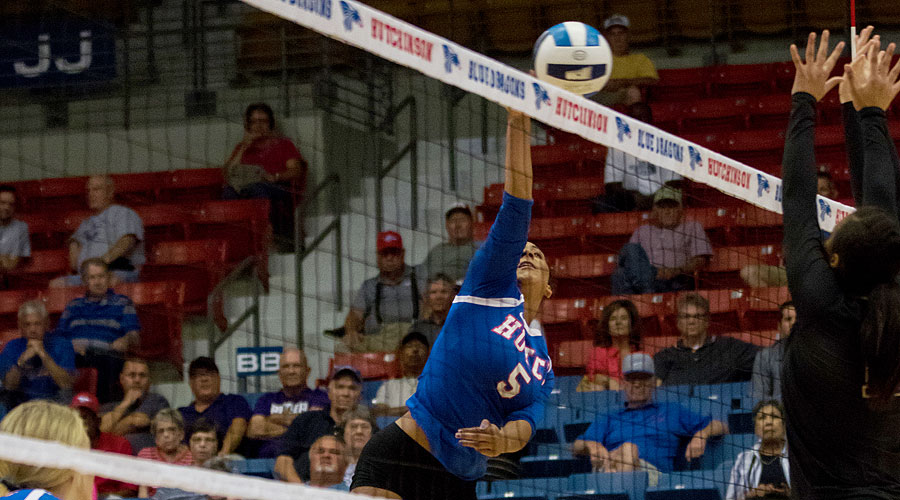 McKenna Sullivan had a season-high nine kills in Hutchinson's 3-1 Jayhawk West victory over Butler on Wednesday at the Sports Arena. (Allie Schweizer/Blue Dragon Sports Information)