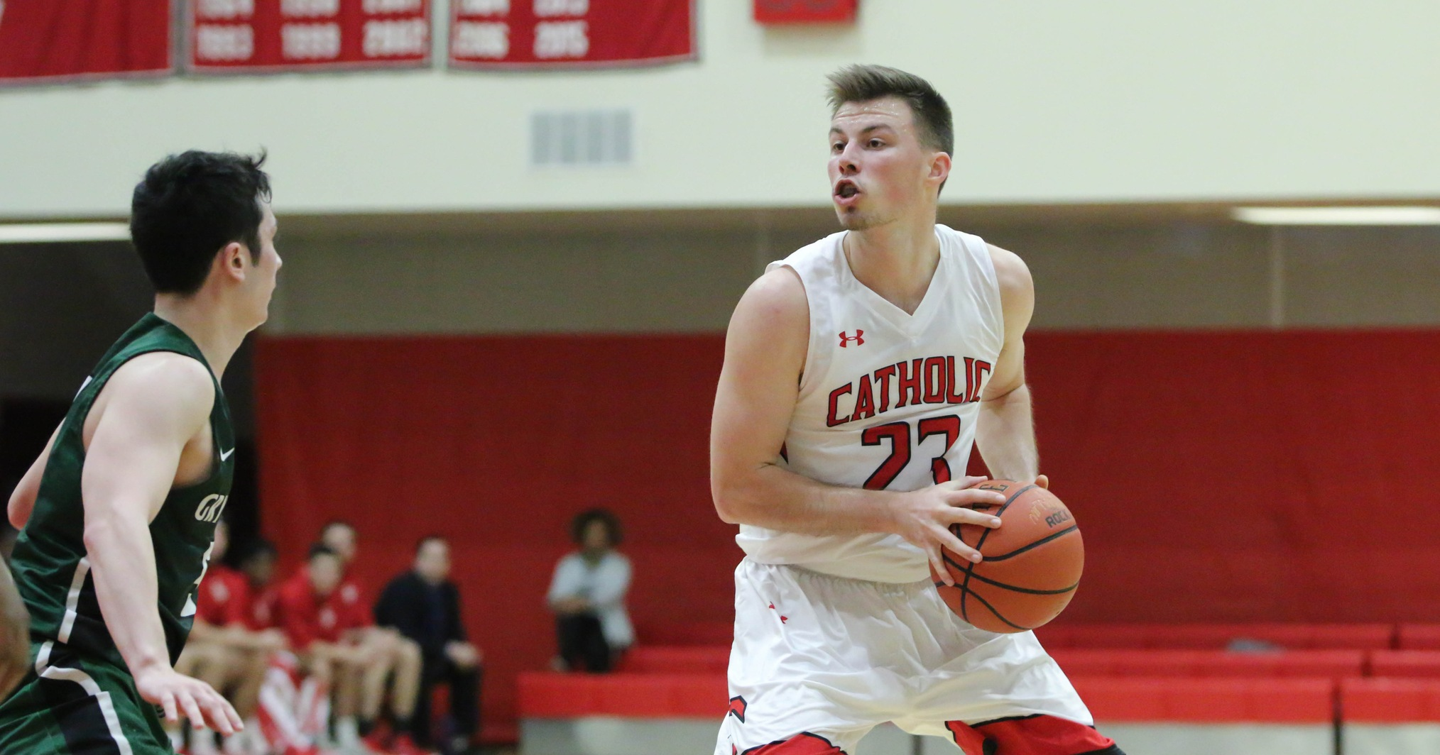 Three Fifteen Point Scorers Lead Catholic in Loss to Stevens