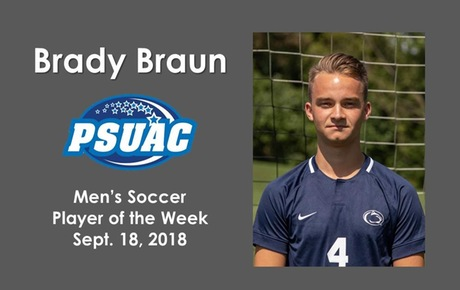 PSUAC Recognizes Braun as Men's Soccer Player of the Week