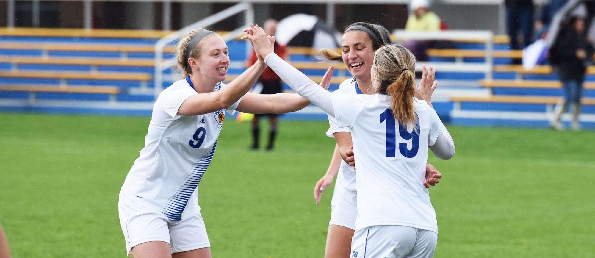 Freshman Vanessa Chiarella (19) registered a hat trick in Western New England's 5-0 shutout win over Curry on Saturday. (Photo by Rachael Margossian)