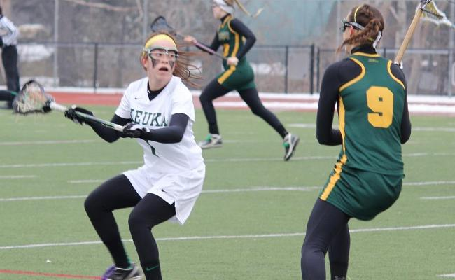 Senior Maggie Bonafede scored two goals with two assists, but the Keuka College women's lacrosse team fell to Clarkson 10-8 Saturday (photo courtesy of Carly Volante, Keuka College Sports Information Department).