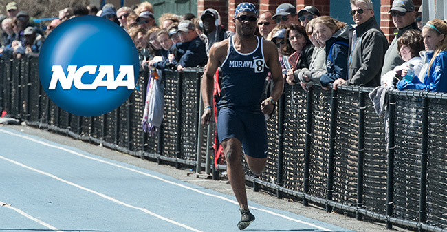 Eric Morton '18, who will be attending the 2018 NCAA Convention, runs in the 100-meter dash during the 2017 outdoor season.