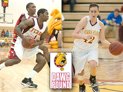 Dontae Molden (left) and Tricia Principe (right) will be part of two GLIAC doubleheaders at Wink Arena this week (Photos courtesy of Ed Hyde)