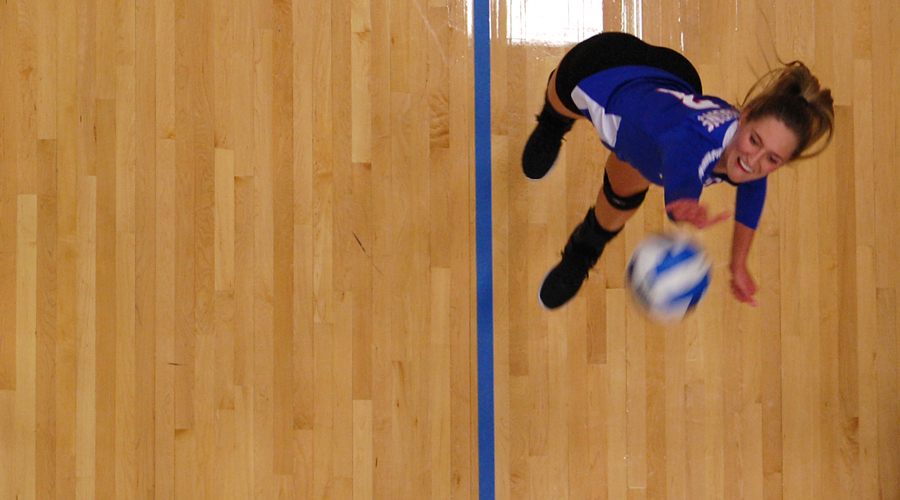 Eden Hiebert swings for a kill in Hutchinson's 3-0 sweep of Garden City on Saturday at the Sports Arena (Casey Bailey/Blue Dragon Sports Information