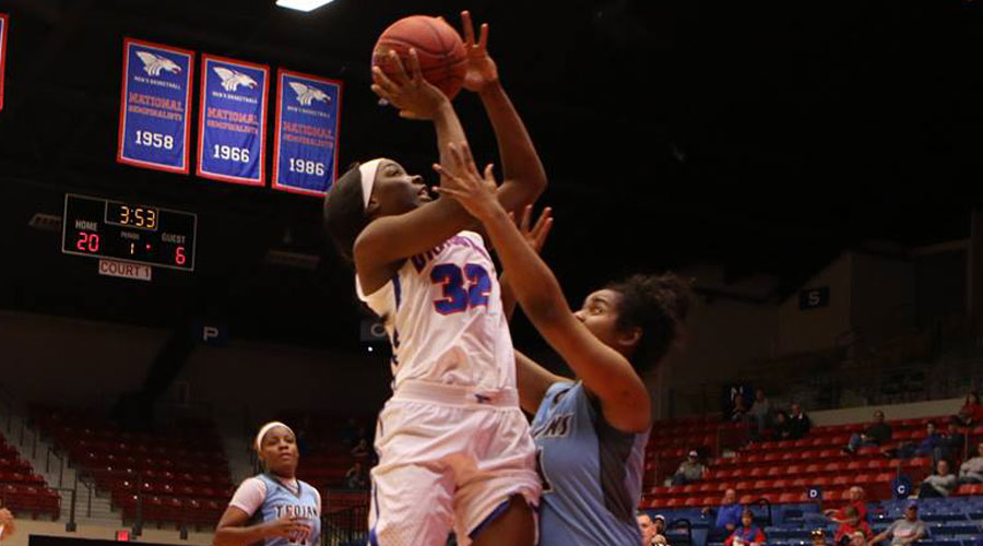 Jada Mickens had a double-double to lead the No. 12 Blue Dragons to a 73-59 victory at Garden City on Saturday in Garden City (Allie Schweizer/Blue Dragon Sports Information)