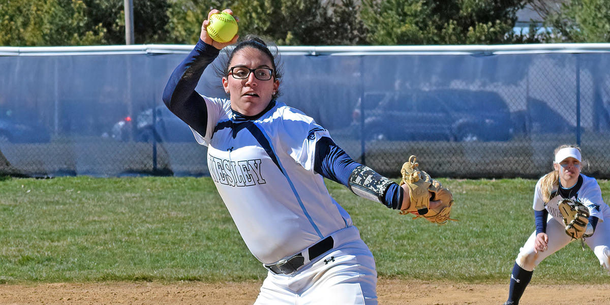 Solid pitching carries softball to doubleheader split with Immaculata