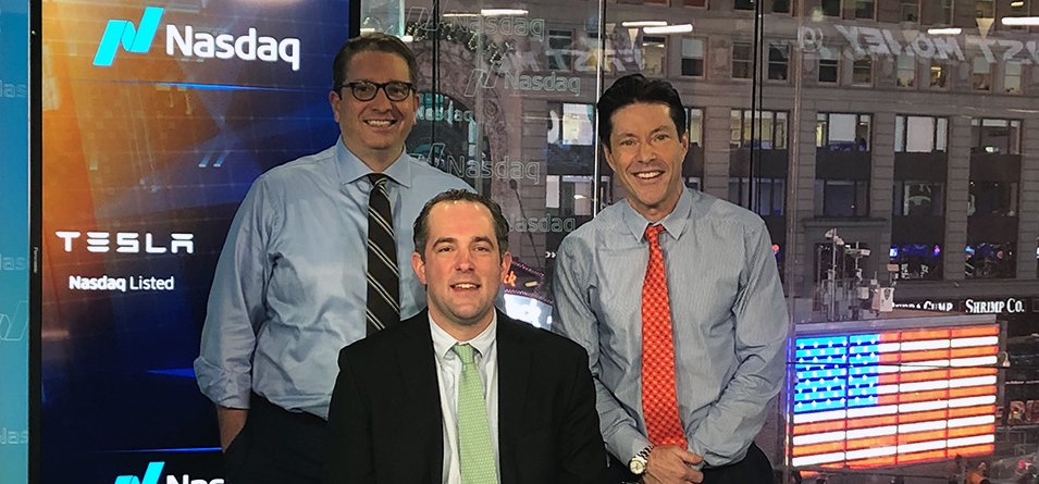 CNBC Closing Bell Hosts join Pat Shannon '03 (middle) at Nasdaq in Times Square