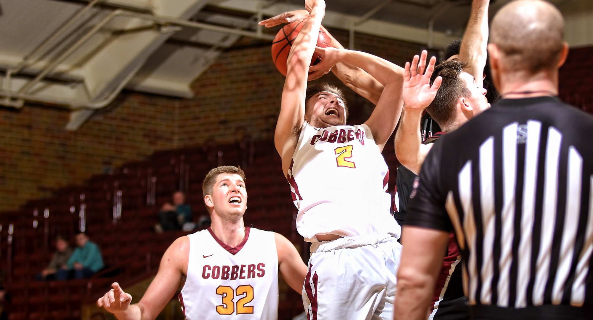 Junior Bryde Urie gets fouled on the way to the basket in the second half of the Cobbers' game with Hamline. Urie tied his career high with 25 points.