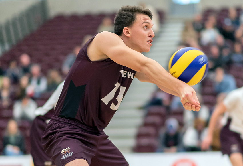 David Morgan has 80 digs in 10 matches - tied for fourth best in the Canada West men's volleyball ranks (Chris Piggott photo).