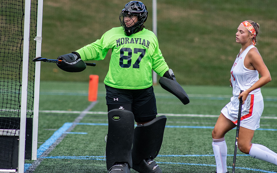 Goalie Ashley Kunsman watches a shot go wide of the cage versus William Paterson University on John Makuvek Field.