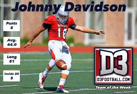 Johnny Davidson of Washington University Named to D3football.com Team of the Week