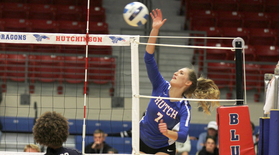 Eden Hiebert had a match-high 11 kills in a 3-0 Blue Dragon victory over Independence on Wednesday at the Sports Arena. (Bre Rogers/Blue Dragon Sports Information)