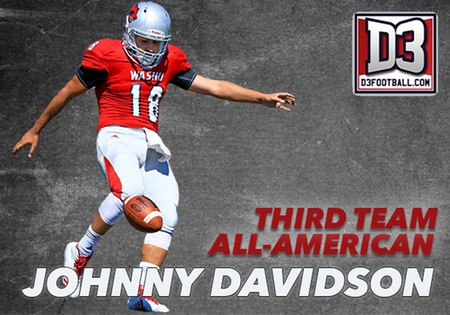 Johnny Davidson of Washington University Earns D3football.com All-America Honor