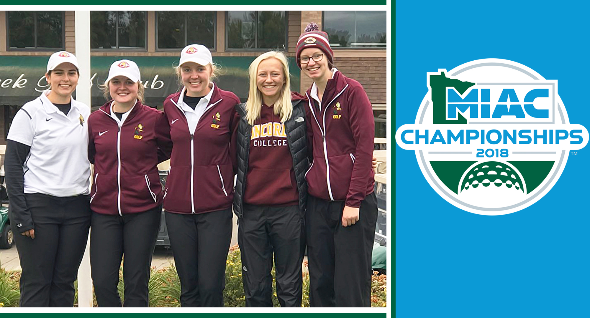 The Cobber women's golf team finished ninth at the MIAC Meet. The CC team (L-R): Bailey Klause, Katie Krueger, Katie Froemke, Jenna Pauly, Alyssa Dalen