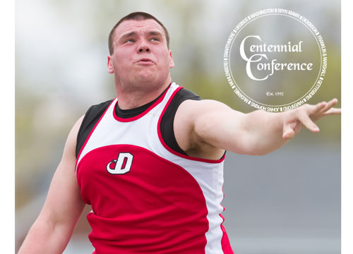 Casey Caslin won the shot put at the 2013 Centennial Conference Champsionships on Sunday<BR>