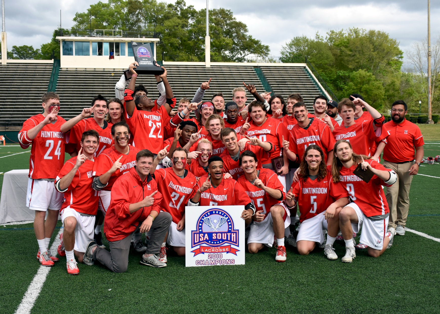 Huntingdon defeated Methodist 12-4 to win the inaugural USA South men's lacrosse conference championship. (Photo submitted)