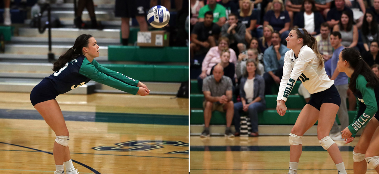Split image showing Mackenzie Kennedy passing a ball on the left, and Emma Mancini passing a ball on the right.