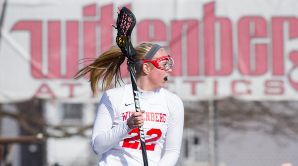 Logan Warye finished with one goal and game-high three assists in Wittenberg's 18-3 victory over Olivet. Photo by Erin Pence