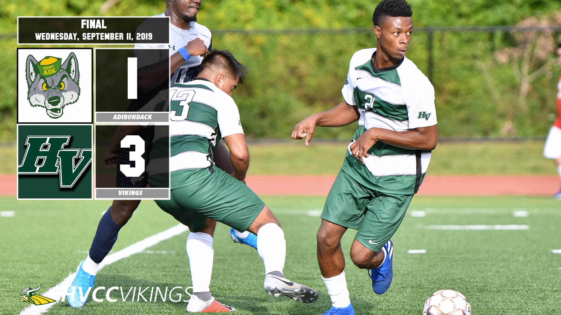Men's soccer defeated Adirondack 3-1 on 9/11/2019