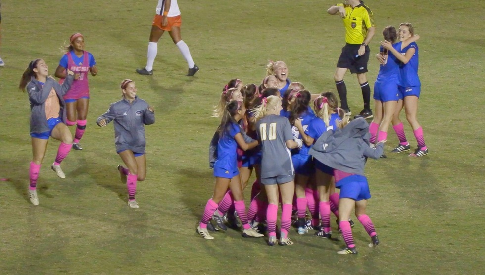 Shaelan Murison celebrates the game winning goal in the 90th minute with her teammates. (Photo courtesy of Brian Edwards)
