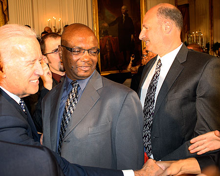 Vice President Joe Biden greets the Bison players