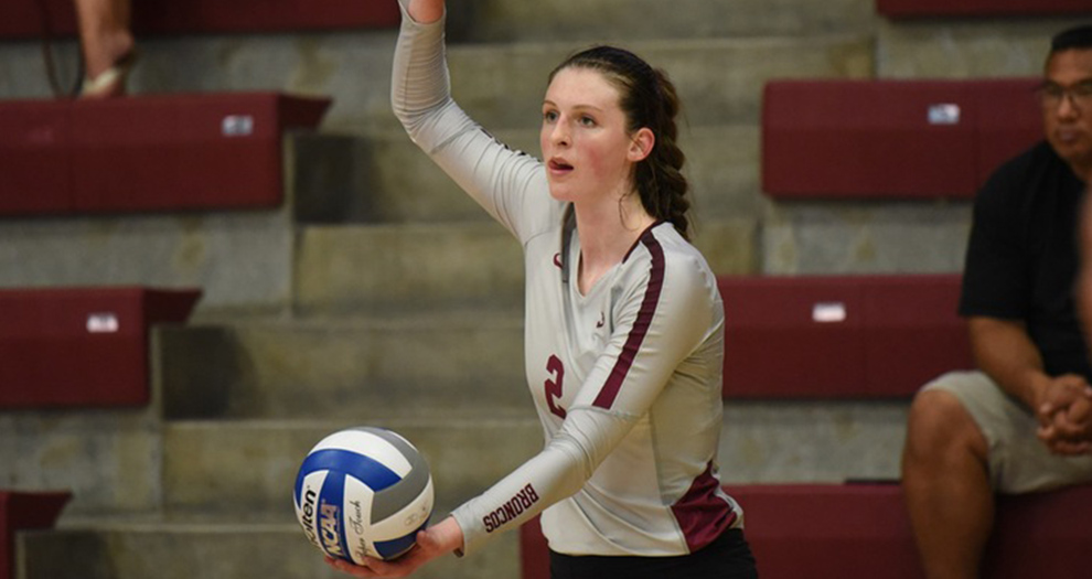 Julia Sangiacomo posted a career-high 22 kills in Santa Clara's second match of the day against Denver on Friday.
