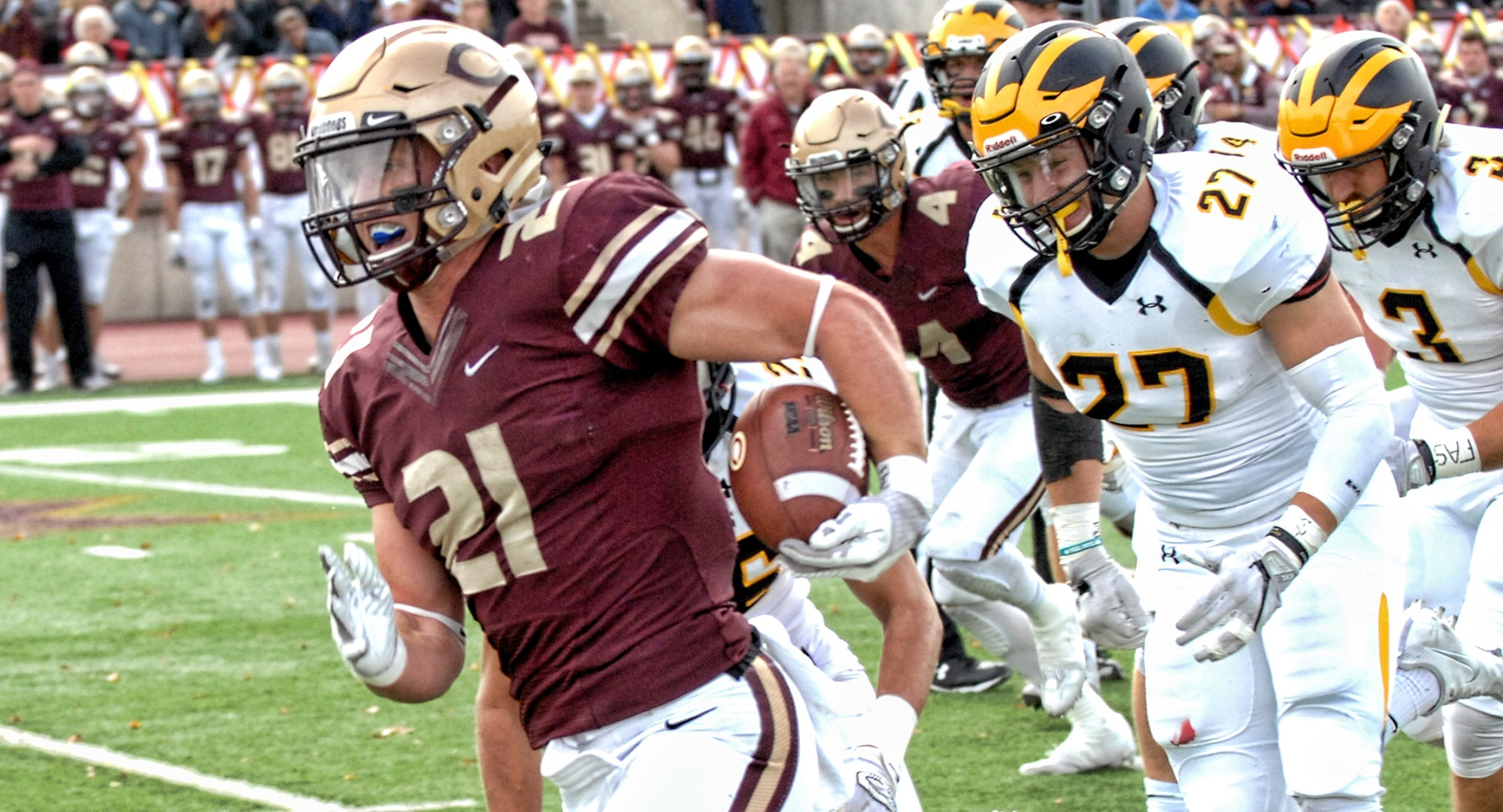 Senior Chad Johnson scored three TDs to break the school's all-time touchdown record in the Cobbers' 45-0 win at Hamline.