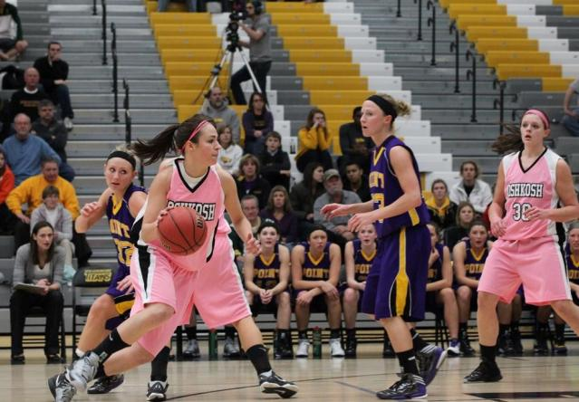 Katie Kitzke's 26th three-pointer of the season won the game for the Titans (Photo by Steve Frommell)