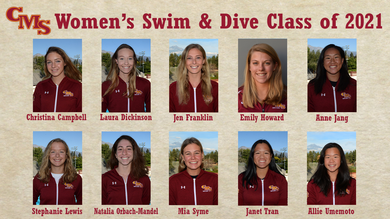 Head Shots of the CMS Women's Swimming and Diving Class of 2021