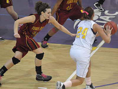 Junior Kelsey DeNoyelles chases the ball in Saturday's loss at Ashland (Photo by Rob Bentley)