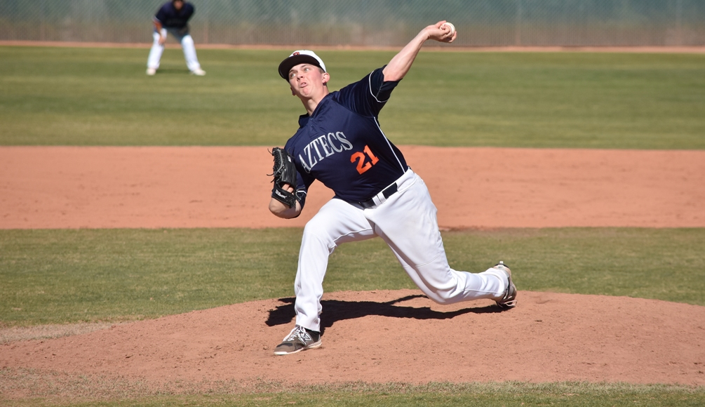 Freshman Mason Myhre (Canyon del Oro HS) threw a no hitter in the first game win. He had 11 strikeouts and four walks. The Aztecs closed out the 2018 season with a 21-31 overall record and 11-29 in ACCAC play. Photo by Ben Carbajal