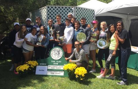 Cerritos men's and women's tennis celebrate their state championship titles