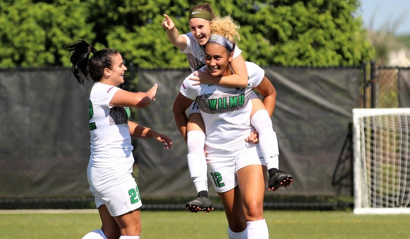 Copyright 2018; Wilmington University. All rights reserved. Photo following Krysta Memi's goal in the 80th minute on Saturday. Photo by Keara McCarthy. September 29, 2018 vs. Concordia. Homecoming.