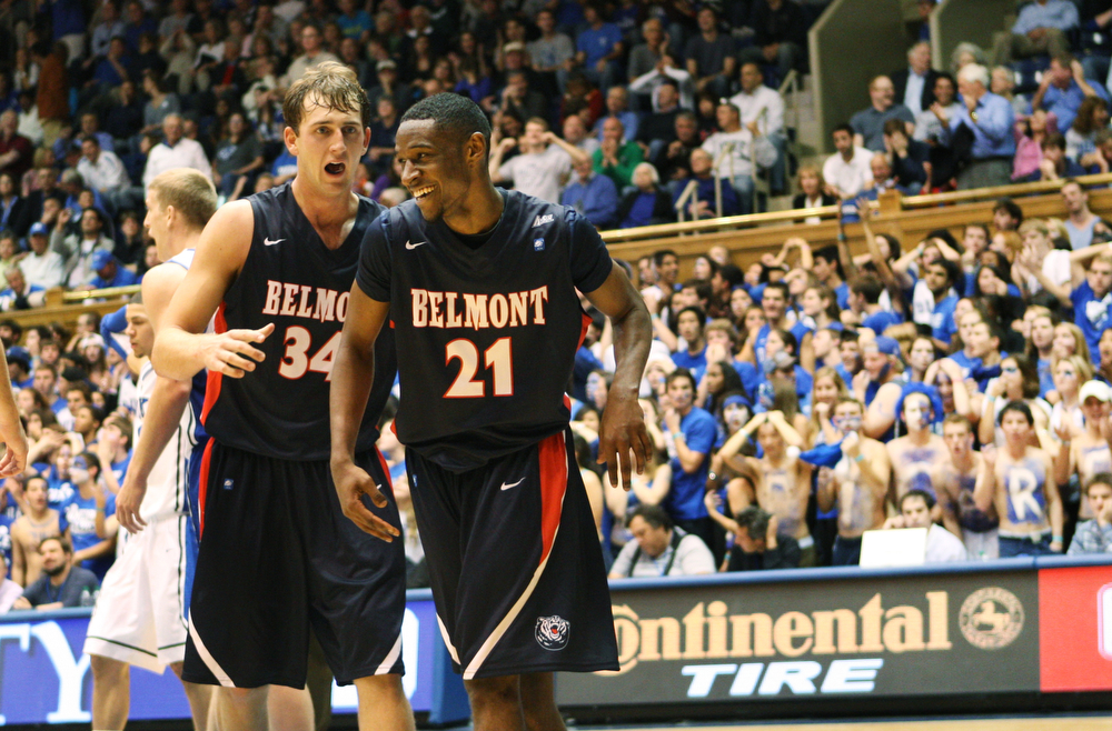 Belmont's Mick Hedgepeth and Ian Clark celebrate a Bruin three-point play in the second half
