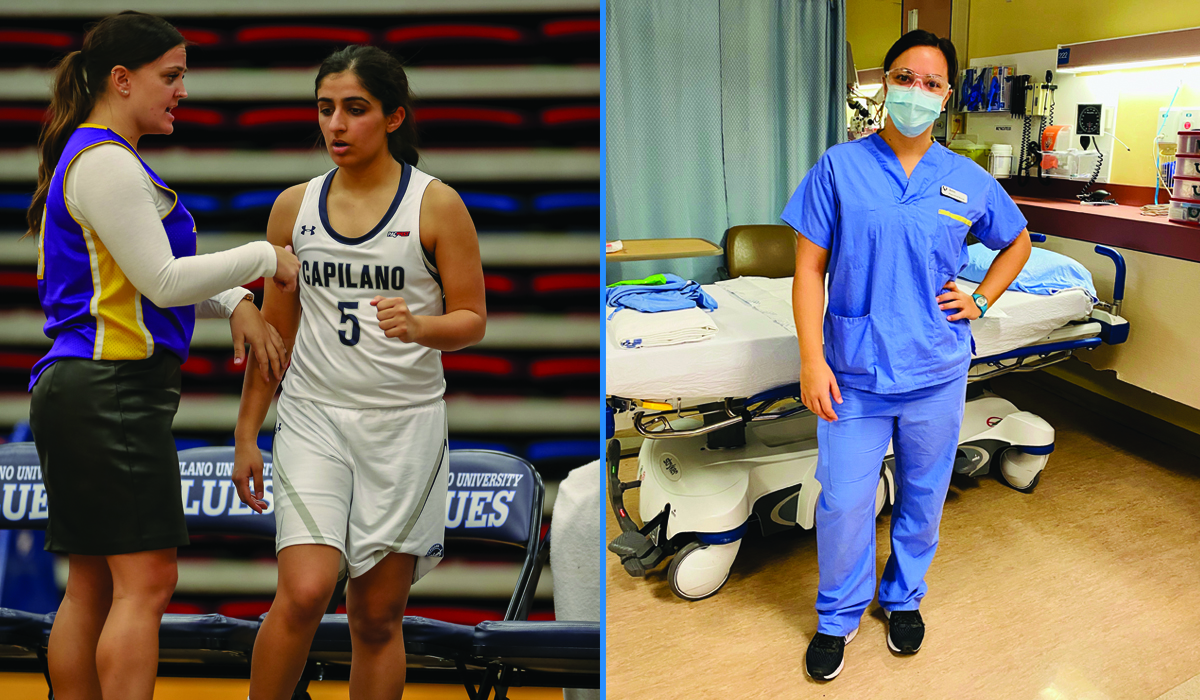 Blues assistant coach Jenn Bodnar (at left with Blues guard Simrat Dosanjh and at right in her nurse scrubs) has switched focus from the sidelines to the front lines of public health.